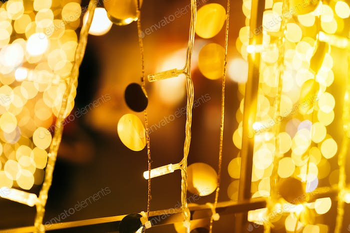 Christmas and New year street light decoration bokeh