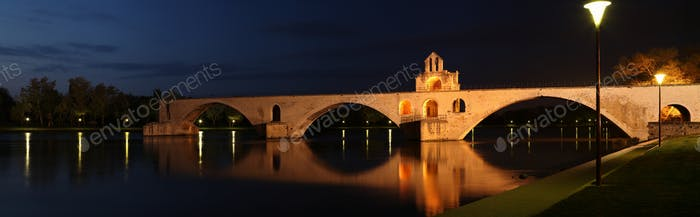 Pont St. Benezet (AKA Pont d'Avignon) famous medieval bridge in the town of Avignon, France