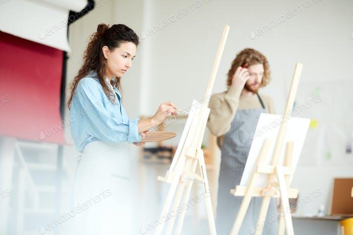 Painting in workshop