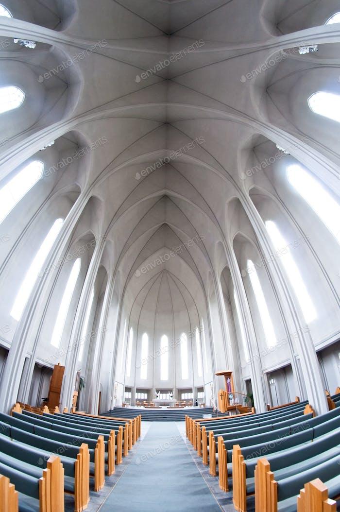 interior of modern Hallgrimskirkja church, Iceland