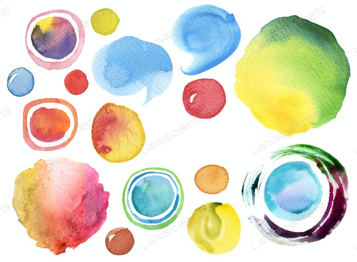 Collection of watercolor hand painted design elements background. Texture paper.