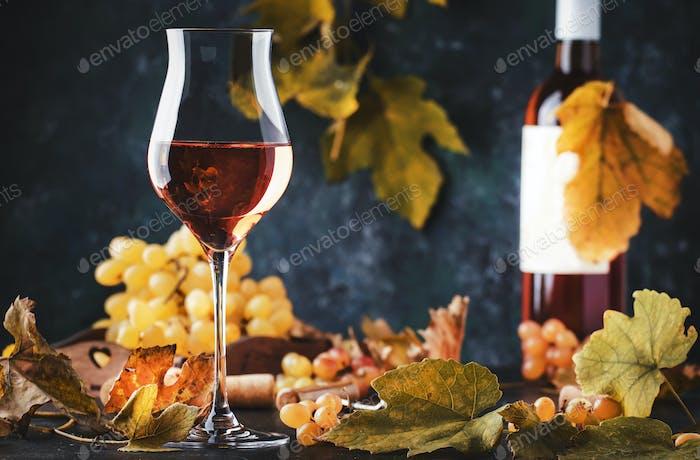 Rose wine at wine tasting