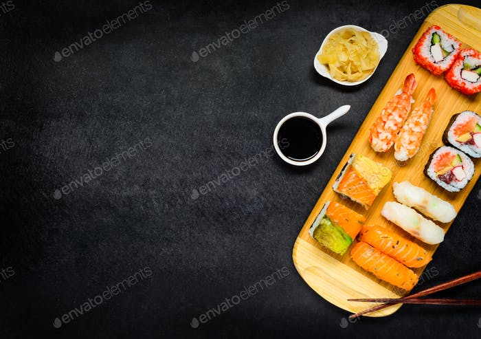 Sushi with Ginger and Soya Sauce on Copy Space