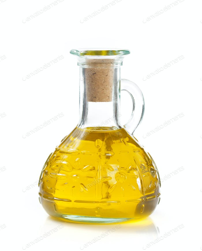 food oil in bottle on white