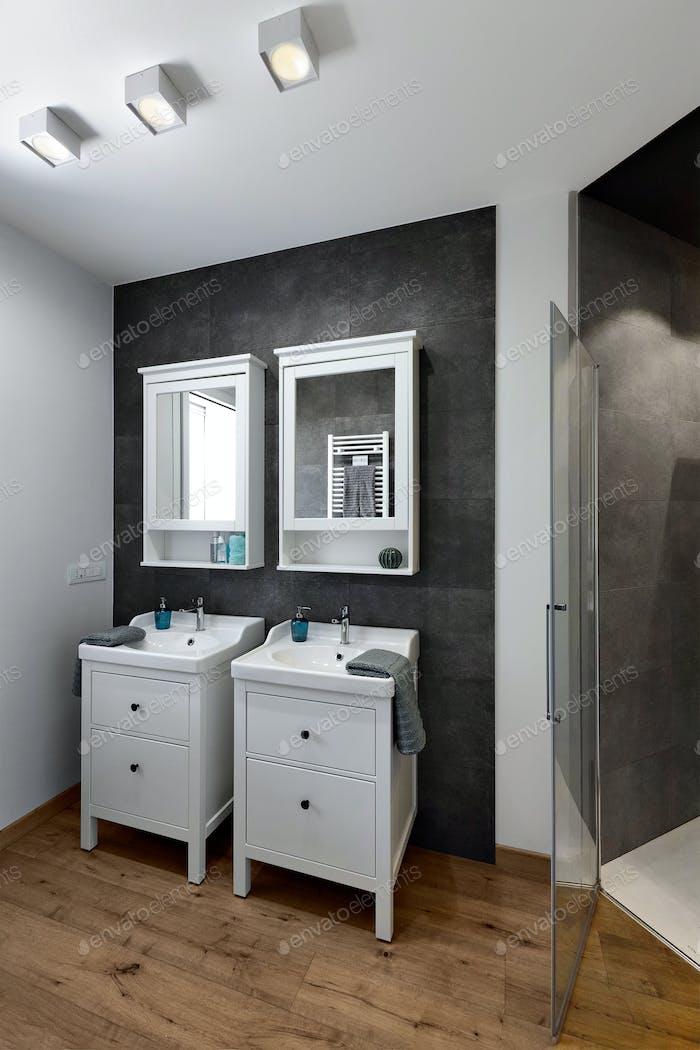 Interiors of a Modern Bathroom With Wood Floor