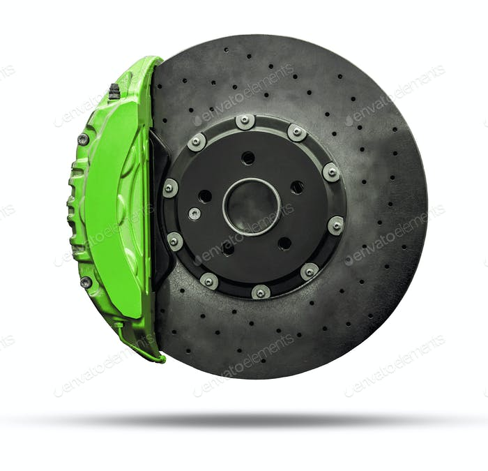brake disc and green caliper