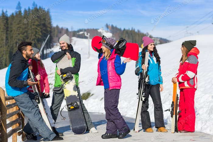 Group Of People Ski And Snowboard Resort Winter Snow Mountain Cheerful Happy Smiling Friends Talking