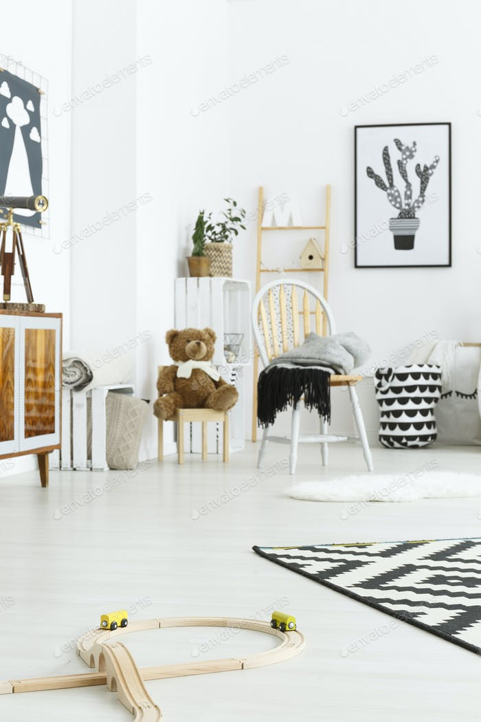 White child room with chair