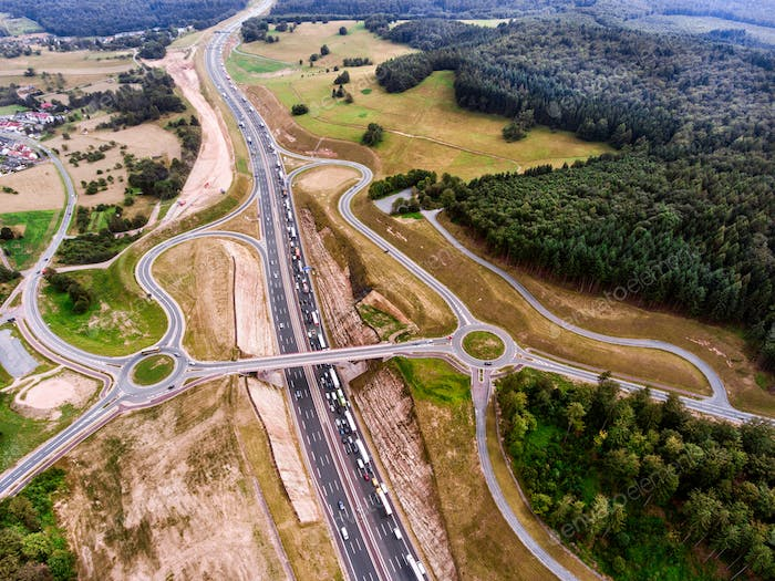 Thumbnail for Aerial view of highway junction, green forest, Netherlands