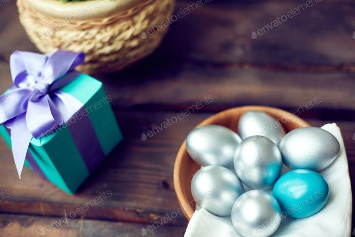 Silver Easter eggs