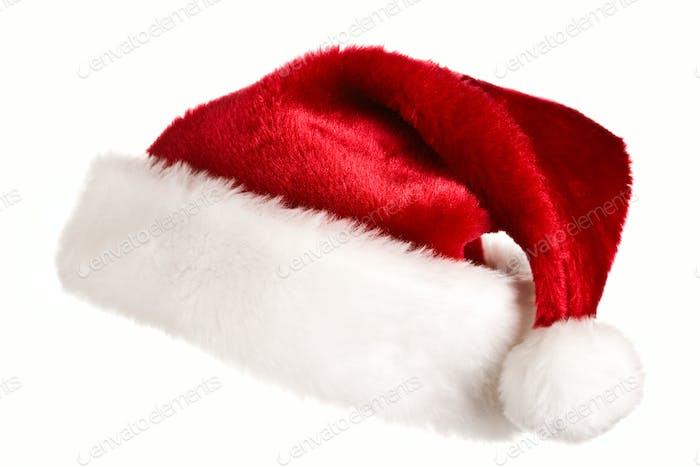 Santa Hut isoliert auf weiß