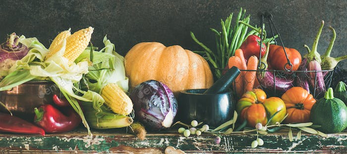 Assortment of various Autumn vegetables from local market