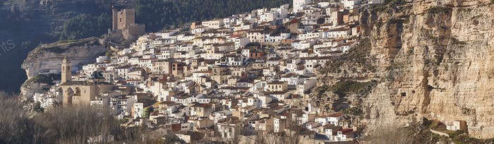 Spanish panoramic white village on the mountain. Alcala Jucar. Spain
