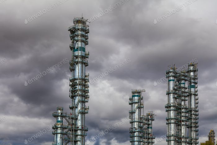 Oil Refinery factory at the cloudy sky, petrochemical plant, Pet
