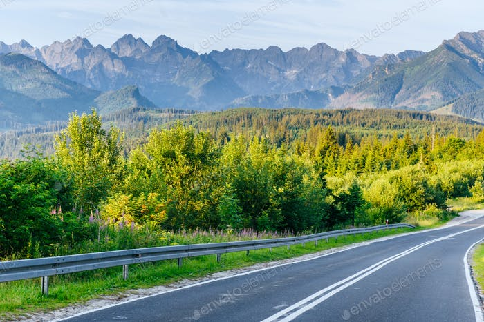 Scenic road in the mountains. Mountain View