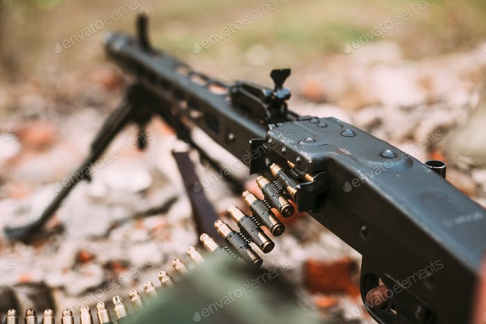 German military ammunition - machine gun of World War II on grou