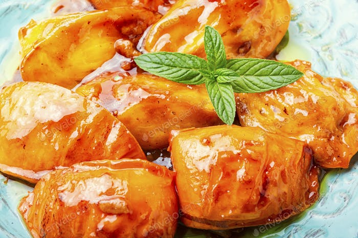 Appetizing caramelized persimmon.