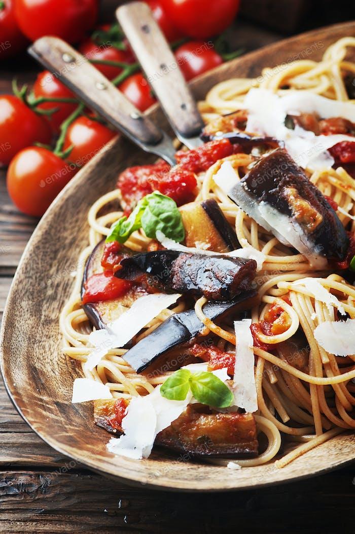 Italian traditional vegetarian pasta with eggplant