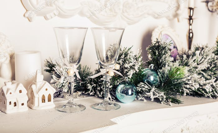 Christmas still life - Two glasses of champagne with Xmas decorations