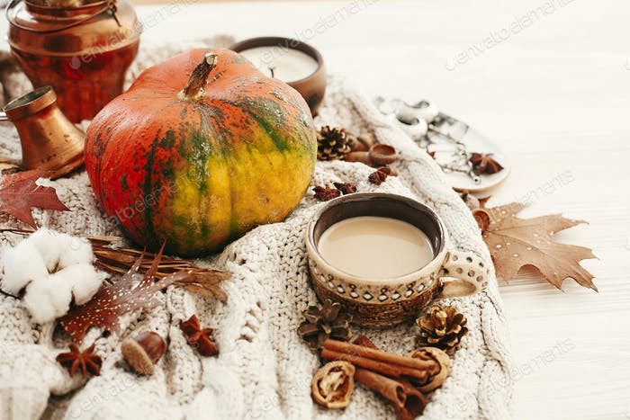 Pumpkin and coffee cup with fall leaves, cotton, cinnamon, anise, acorns