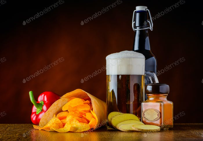 Potato-Chips, Beer and Pepper