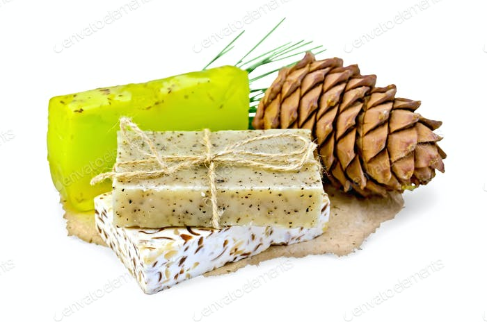 Soap different with cedar cones on paper