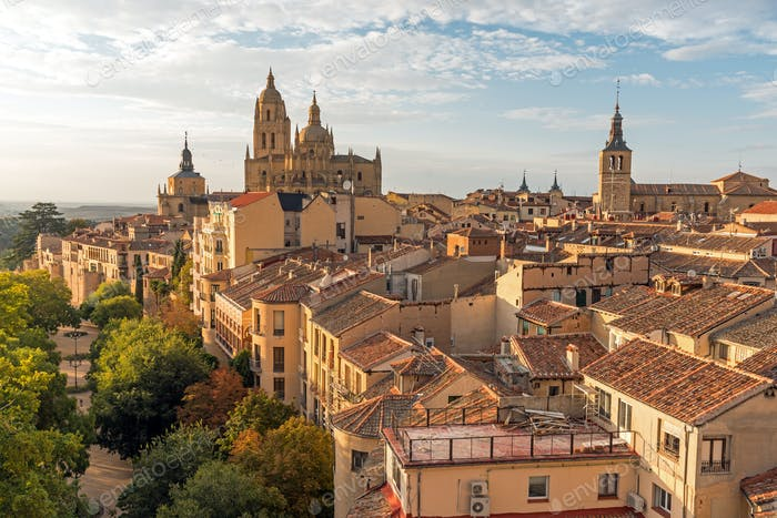 View over the small historic city of Segovia