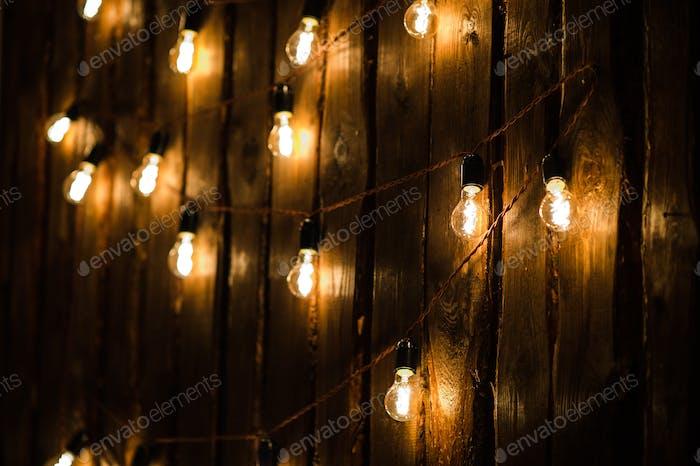 Designer light bulbs on dark wooden background