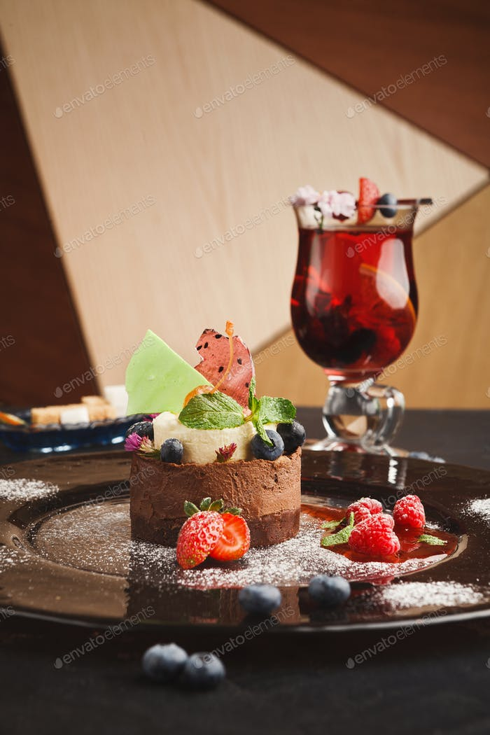 Exclusive mousse dessert served at restaurant