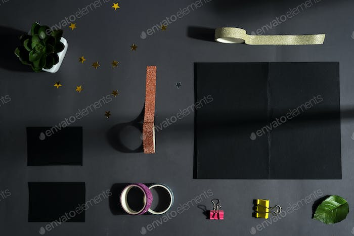 Mock-up black brochure and set for your creativity