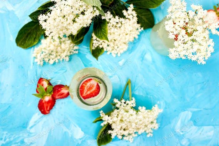 Kombucha tea with elderflower and strawberry on blue background.