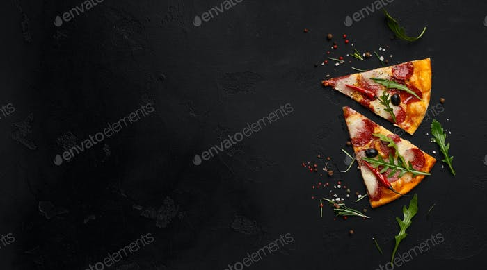 Two slices of pizza with rocket salad and spices, copy space