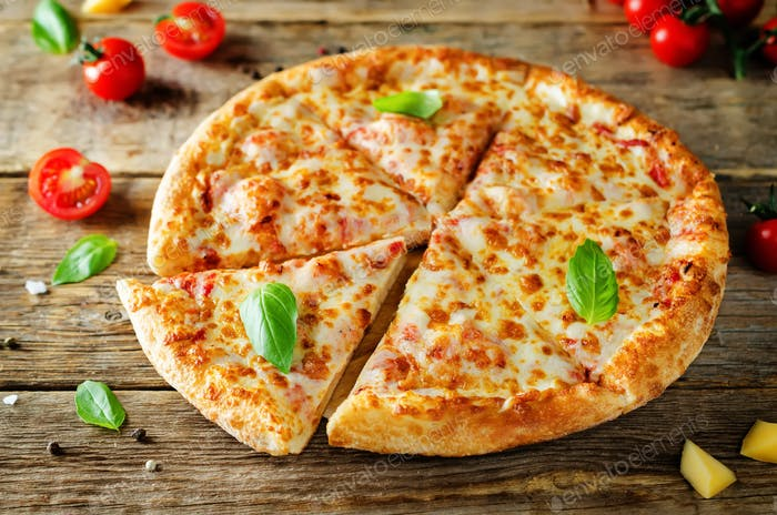 Pizza with cheese, tomato sauce and fresh tomatoes
