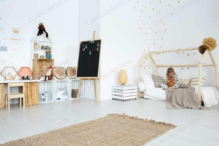 Girl's room with handmade furniture