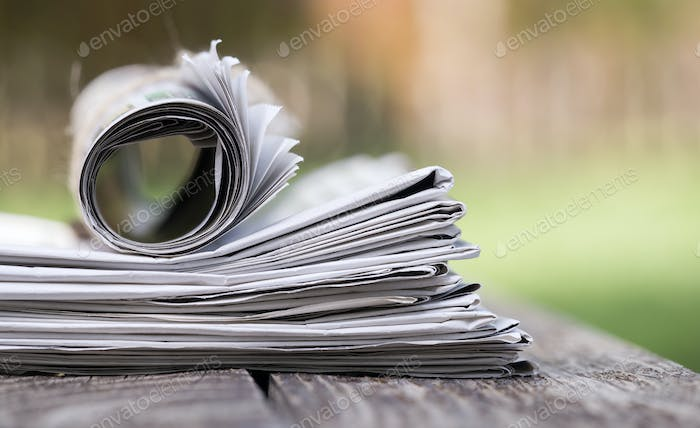 Morning newspaper close-up