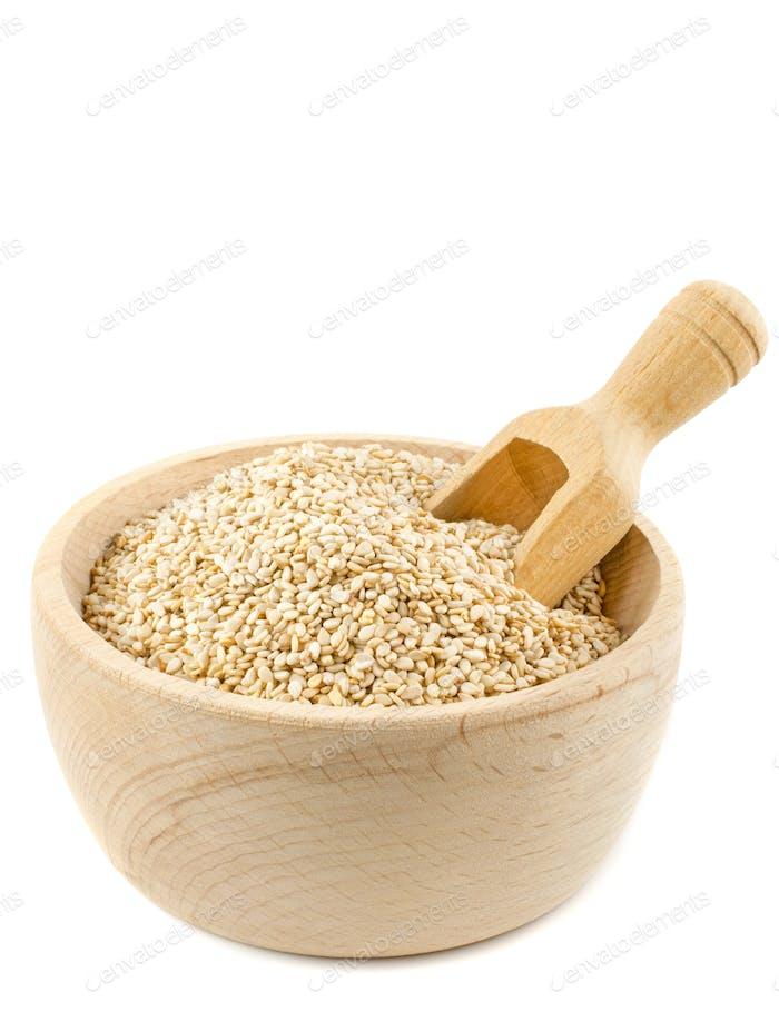 A Wooden Bowl of Sesame Seeds