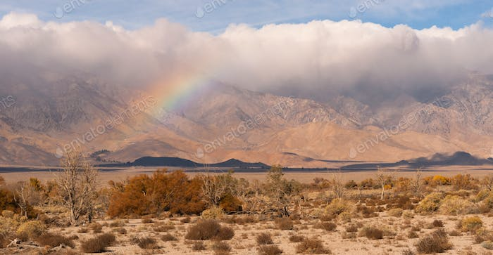 Storm Clouds Rainbow Owens Valley Sierra Nevada Mountain Range