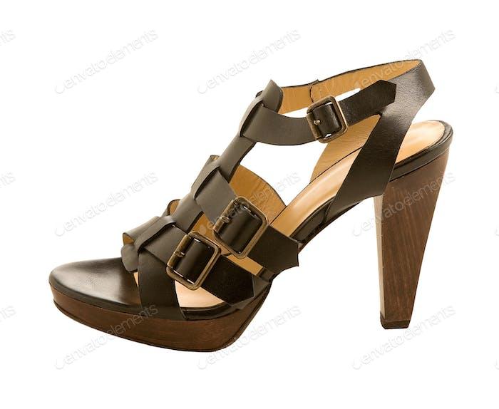 Three buckles leather sandal