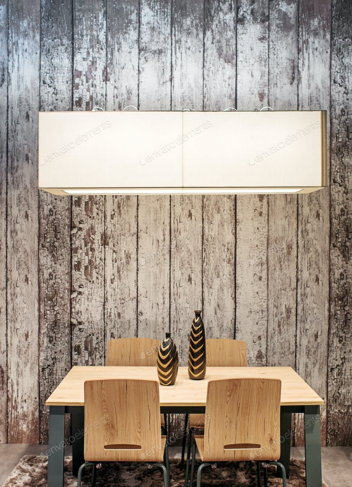 Modern wooden dining table and chairs