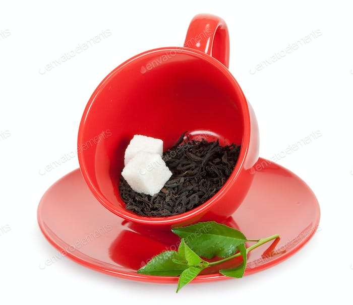 Teacup with black tea and slices of sugar