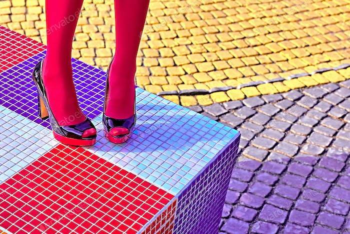 Fashion urban womens legs, heels. Vivid geometry