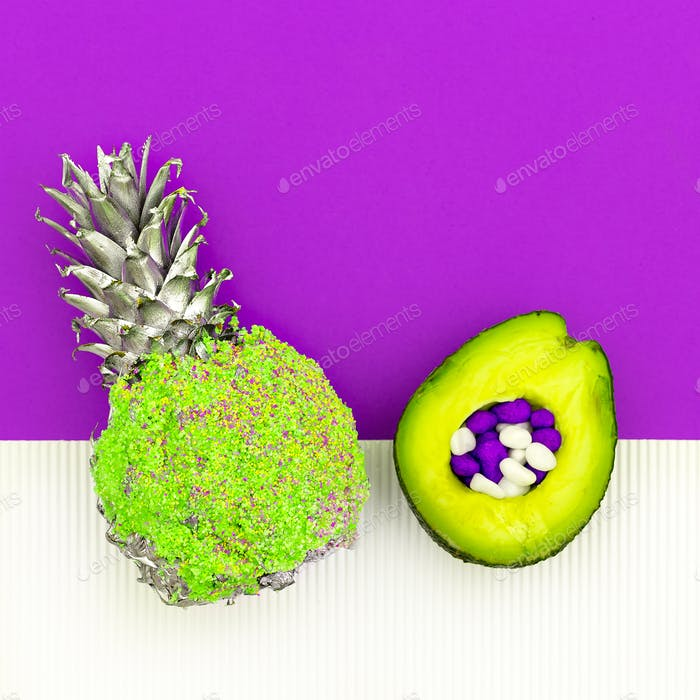 Avocado and pineapple Art Minimal design