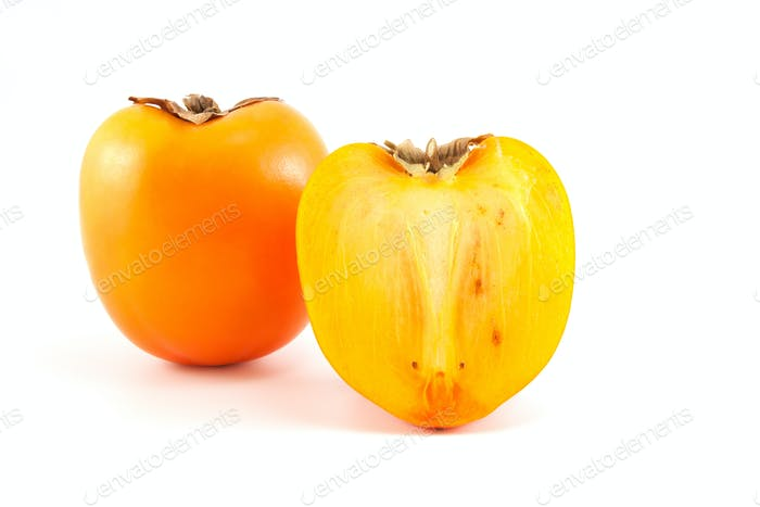 Orange persimmon with sliced one