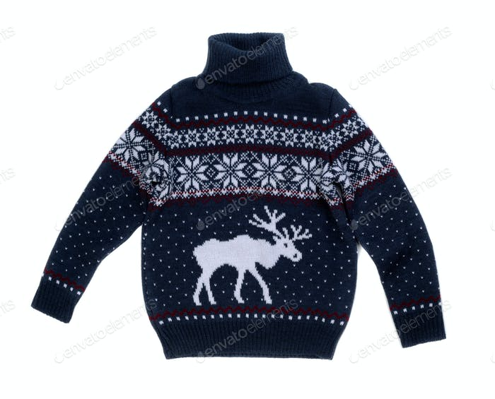Knitted sweater with a pattern of elk.