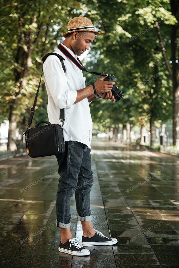 Fashion black man in park