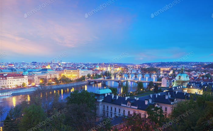 Panoramic view of Prague bridges over Vltava river