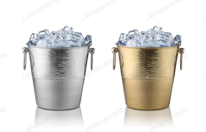 Champagne buckets, full with ice. Isolated on white
