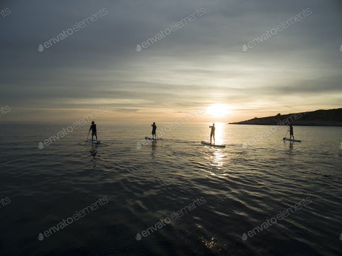 High angle shot of people on paddleboards at sunset.