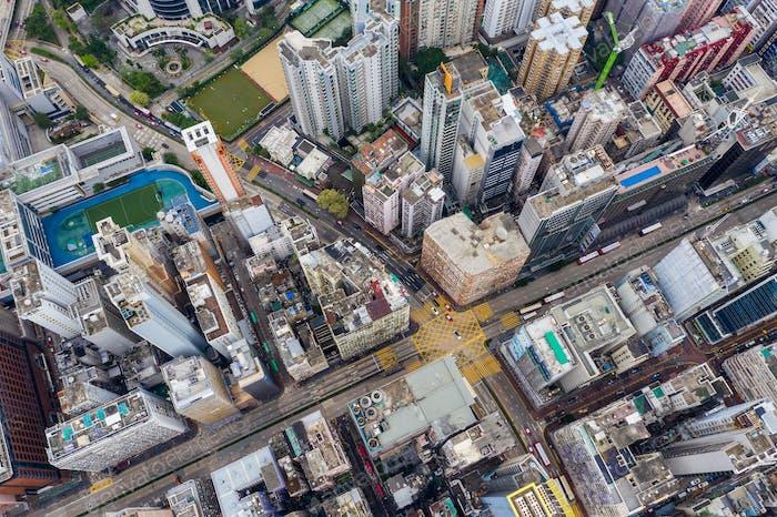 Sham Shui Po, Hong Kong 21 April 2019: Top view of Hong Kong urban city