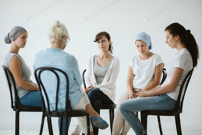 Sick women at the psychotherapy